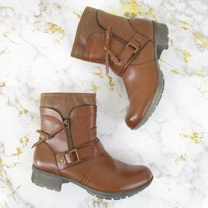 Clarks Collection Brown Leather Harness Ankle Boot